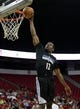 Jul 15, 2013; Las Vegas, NV, USA; Minnesota Timberwolves guard Othyus Jeffers dunks against the Phoenix Suns during an NBA Summer League game at the Thomas and Mack Center. Mandatory Credit: Stephen R. Sylvanie-USA TODAY Sports