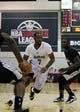 Jul 15, 2013; Las Vegas, NV, USA; Los Angeles Lakers forward Marcus Landry (7) dribbles the ball past Los Angeles Clippers center Vernon Macklin during an NBA Summer League game at Cox Pavillion. Mandatory Credit: Stephen R. Sylvanie-USA TODAY Sports