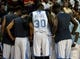 Jul 15, 2013; Las Vegas, NV, USA; Denver Nuggets forward Quincy Miller (30) gathers with teammates around the coaching staff during a timeout from an NBA Summer League game against the Chicago Bulls at the Thomas and Mack Center. Mandatory Credit: Stephen R. Sylvanie-USA TODAY Sports
