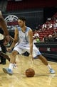 Jul 15, 2013; Las Vegas, NV, USA; Denver Nuggets guard Evan Fournier dribbles the ball against the Chicago Bulls during an NBA Summer League game at the Thomas and Mack Center. Mandatory Credit: Stephen R. Sylvanie-USA TODAY Sports