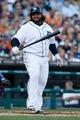 July 12, 2013; Detroit, MI, USA; Detroit Tigers first baseman Prince Fielder (28) reacts at bat against the Texas Rangers at Comerica Park. Mandatory Credit: Rick Osentoski-USA TODAY Sports