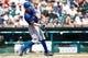 July 14, 2013; Detroit, MI, USA; Texas Rangers second baseman Ian Kinsler (5) at bat against the Detroit Tigers at Comerica Park. Mandatory Credit: Rick Osentoski-USA TODAY Sports
