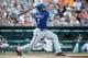 July 13, 2013; Detroit, MI, USA; Texas Rangers shortstop Elvis Andrus (1) at bat against the Detroit Tigers at Comerica Park. Mandatory Credit: Rick Osentoski-USA TODAY Sports