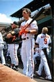 Jul 14, 2013; Baltimore, MD, USA; Baltimore Orioles second baseman Brian Roberts (1) in the dugout during  the first inning against the Toronto Blue Jays at Oriole Park at Camden Yards. The Orioles defeated the Blue Jays 7-4. Mandatory Credit: Joy R. Absalon-USA TODAY Sports