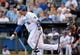 Jul 19, 2013; Kansas City, MO, USA; Kansas City Royals designated hitter Billy Butler (16) connects for a one run single in the first inning of the game against the Detroit Tigers at Kauffman Stadium. Mandatory Credit: Denny Medley-USA TODAY Sports