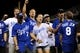 """Jul 19, 2013; Kansas City, MO, USA; Britton Colquitt, Wilmer Valderrama, Dustin Colquitt, Olivia Wilde, Jon Glaser, Jason Sudeikis, and Kevin Pollak (left to right) sing """"Take Me Out to the Ball Game"""" during the seventh inning of the game between the Kansas City Royals and Detroit Tigers at Kauffman Stadium. Mandatory Credit: Denny Medley-USA TODAY Sports"""