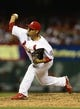 Jul 19, 2013; St. Louis, MO, USA; St. Louis Cardinals relief pitcher Fernando Salas (59) throws to a San Diego Padres batter during the seventh inning at Busch Stadium. St. Louis defeated San Diego 9-6. Mandatory Credit: Jeff Curry-USA TODAY Sports