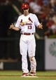 Jul 19, 2013; St. Louis, MO, USA; St. Louis Cardinals second baseman Matt Carpenter (13) celebrates after hitting a double during the eighth inning against the San Diego Padres at Busch Stadium. St. Louis defeated San Diego 9-6. Mandatory Credit: Jeff Curry-USA TODAY Sports