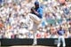 Jul 21, 2013; Denver, CO, USA; Chicago Cubs pitcher Edwin Jackson (36) delivers a pitch during the first inning against the Colorado Rockies at Coors Field.Mandatory Credit: Chris Humphreys-USA TODAY Sports