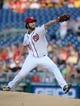 Jul 22, 2013; Washington, DC, USA; Washington Nationals starting pitcher Dan Haren (15) throws during the first inning against the Pittsburgh Pirates at Nationals Park. Mandatory Credit: Brad Mills-USA TODAY Sports