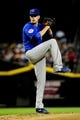Jul 22, 2013; Phoenix, AZ, USA; Chicago Cubs starting pitcher Chris Rusin throws during the first inning against the Arizona Diamondbacks at Chase Field. Mandatory Credit: Matt Kartozian-USA TODAY Sports