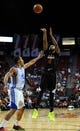 Jul 22, 2013; Las Vegas, NV, USA; Phoenix Suns forward Marcus Morris takes a shot over Golden State Warriors forward Lance Goulbourne during the NBA Summer League Championship game at the Thomas and Mack Center. Mandatory Credit: Stephen R. Sylvanie-USA TODAY Sports