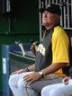 Jul 22, 2013; Washington, DC, USA; Pittsburgh Pirates manager Clint Hurdle in the dugout before the game against the Washington Nationals at Nationals Park. Mandatory Credit: Brad Mills-USA TODAY Sports