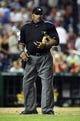 Jul 22, 2013; Washington, DC, USA; Home plate umpire Laz Diaz during the game between the Washington Nationals and Pittsburgh Pirates at Nationals Park. Mandatory Credit: Brad Mills-USA TODAY Sports