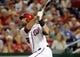 Jul 22, 2013; Washington, DC, USA; Washington Nationals right fielder Jayson Werth (28) hits a two run home run during the seventh inning against the Pittsburgh Pirates at Nationals Park. Mandatory Credit: Brad Mills-USA TODAY Sports
