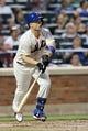 Jul 22, 2013; New York, NY, USA;  New York Mets third baseman David Wright (5) flies out during the third inning against the Atlanta Braves at Citi Field.  Atlanta Braves won 2-1.  Credit: Anthony Gruppuso-USA TODAY Sports