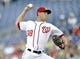 Jul 23, 2013; Washington, DC, USA; Washington Nationals starting pitcher Taylor Jordan (38) throws in the second inning against the Pittsburgh Pirates at Nationals Park. Mandatory Credit: Joy R. Absalon-USA TODAY Sports