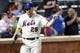Jul 23, 2013; New York, NY, USA;  New York Mets second baseman Daniel Murphy (28) gestures after scoring during the sixth inning against the Atlanta Braves at Citi Field.  Mandatory Credit: Anthony Gruppuso-USA TODAY Sports