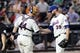 Jul 23, 2013; New York, NY, USA;  New York Mets catcher John Buck (44) and relief pitcher Bobby Parnell (39) celebrate the win against the Atlanta Braves at Citi Field.  Mets won 4-1.  Mandatory Credit: Anthony Gruppuso-USA TODAY Sports