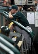 Jul 23, 2013; Houston, TX, USA; Oakland Athletics manager Bob Melvin (6) watches from the dugout during the third inning against the Houston Astros at Minute Maid Park. Mandatory Credit: Troy Taormina-USA TODAY Sports