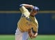 Jul 21, 2013; Milwaukee, WI, USA;  Milwaukee Brewers pitcher Wily Peralta during the game against the Miami Marlins at Miller Park. Mandatory Credit: Benny Sieu-USA TODAY Sports