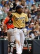 Jul 21, 2013; Milwaukee, WI, USA;  Milwaukee Brewers second baseman Rickie Weeks during the game against the Miami Marlins at Miller Park. Mandatory Credit: Benny Sieu-USA TODAY Sports