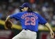 Jul 24, 2013; Phoenix, AZ, USA; Chicago Cubs starting pitcher Jeff Samardzija (29) throws in the first inning during a baseball game against the Arizona Diamondbacks at Chase Field. Mandatory Credit: Rick Scuteri-USA TODAY Sports