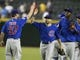 Jul 24, 2013; Phoenix, AZ, USA; Members of the Chicago Cubs celebrate after defeating the Arizona Diamondbacks 7-6 in twelve innings at Chase Field. Mandatory Credit: Rick Scuteri-USA TODAY Sports