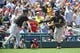 Jul 25, 2013; Washington, DC, USA; Pittsburgh Pirates right fielder Josh Harrison (5) is congratulated by third base coach after hitting two run home run during the sixth inning against the Washington Nationals at Nationals Park.  Mandatory Credit: Brad Mills-USA TODAY Sports