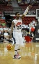 Jul 25, 2013; Las Vegas, NV, USA; USA White Team guard Kyrie Irving directs his teammates while dribbling the ball during the 2013 USA Basketball Showcase at the Thomas and Mack Center. Mandatory Credit: Stephen R. Sylvanie-USA TODAY Sports