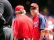 Jul 26, 2013; Washington, DC, USA; Washington Nationals manager Davey Johnson (right) brings the lineup card out prior to the game against the New York Mets at Nationals Park. Mandatory Credit: Evan Habeeb-USA TODAY Sports