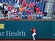 Jul 26, 2013; Washington, DC, USA; Washington Nationals outfielder Bryce Harper (34) catches a fly ball off the ball of New York Mets third baseman David Wright (not pictured) at Nationals Park. Mandatory Credit: Evan Habeeb-USA TODAY Sports