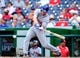 Jul 26, 2013; Washington, DC, USA; New York Mets second baseman Daniel Murphy (28) hits an RBI single in the seventh inning against the Washington Nationals at Nationals Park. Mandatory Credit: Evan Habeeb-USA TODAY Sports