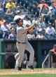 July 21, 2013; Kansas City, MO, USA; Detroit Tigers shortstop Jhonny Peralta (27) at bat against the Kansas City Royals during the fifth inning at Kauffman Stadium.  Mandatory Credit: Peter G. Aiken-USA TODAY Sports