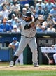 July 21, 2013; Kansas City, MO, USA; Detroit Tigers designated hitter Prince Fielder (28) at bat against the Kansas City Royals during the first inning at Kauffman Stadium.  Mandatory Credit: Peter G. Aiken-USA TODAY Sports