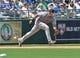 July 21, 2013; Kansas City, MO, USA; Detroit Tigers Third basemen Miguel Cabrera (24) fields a ground ball against the Kansas City Royals during the fifth inning at Kauffman Stadium.  Mandatory Credit: Peter G. Aiken-USA TODAY Sports
