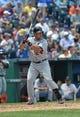 July 21, 2013; Kansas City, MO, USA; Detroit Tigers Third basemen Miguel Cabrera (24) at bat against the Kansas City Royals during the fourth inning at Kauffman Stadium.  Mandatory Credit: Peter G. Aiken-USA TODAY Sports