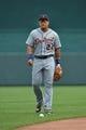 July 21, 2013; Kansas City, MO, USA; Detroit Tigers Third basemen Miguel Cabrera (24) before a game against the Kansas City Royals at Kauffman Stadium.  Mandatory Credit: Peter G. Aiken-USA TODAY Sports