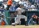 July 21, 2013; Kansas City, MO, USA; Detroit Tigers center fielder Austin Jackson (14) at bat against the Kansas City Royals during the first inning at Kauffman Stadium.  Mandatory Credit: Peter G. Aiken-USA TODAY Sports