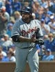 July 21, 2013; Kansas City, MO, USA; Detroit Tigers designated hitter Prince Fielder (28) walks back to the dugout against the Kansas City Royals during the eighth inning at Kauffman Stadium.  Mandatory Credit: Peter G. Aiken-USA TODAY Sports