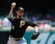 Jul 25, 2013; Washington, DC, USA; Pittsburgh Pirates starting pitcher A.J. Burnett (34) throws during the first inning against the Washington Nationals at Nationals Park. Mandatory Credit: Brad Mills-USA TODAY Sports