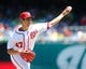 Jul 25, 2013; Washington, DC, USA; Washington Nationals starting pitcher Gio Gonzalez (47) throws during the first inning against the Pittsburgh Pirates at Nationals Park. Mandatory Credit: Brad Mills-USA TODAY Sports