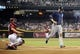 Jul 28, 2013; Phoenix, AZ, USA; San Diego Padres infielder Chase Headley (7) scores on an RBI single hit by outfielder Carlos Quentin (not pictured) against the Arizona Diamondbacks in the first inning at Chase Field. The Padres defeated the Diamondbacks 1-0. Mandatory Credit: Jennifer Stewart-USA TODAY Sports