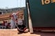 Jul 28, 2013; Oakland, CA, USA; Los Angeles Angels outfielder Mike Trout (27) prepares for the start of the game against the Oakland Athletics at O.co Coliseum. The Athletics defeated the Angels 10-6. Mandatory Credit: Cary Edmondson-USA TODAY Sports