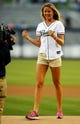 Jul 29, 2013; San Diego, CA, USA; Professional tennis player Daniela Hantuchova pumps her fists after throwing out the first pitch prior to the San Diego Padres game against the Cincinnati Reds at Petco Park. . Mandatory Credit: Christopher Hanewinckel-USA TODAY Sports