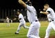 Jul 29, 2013; San Diego, CA, USA; San Diego Padres players celebrate following a walk off two-run home run during the ninth inning by pinch hitter Chris Denorfia (not pictured) against the Cincinnati Reds at Petco Park. Mandatory Credit: Christopher Hanewinckel-USA TODAY Sports