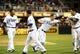 Jul 29, 2013; San Diego, CA, USA; San Diego Padres players celebrate following a walk off two-run home run during the ninth inning by pinch hitter Chris Denorfia (13) against the Cincinnati Reds at Petco Park. Mandatory Credit: Christopher Hanewinckel-USA TODAY Sports