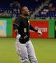 Jul 27, 2013; Miami, FL, USA; Pittsburgh Pirates left fielder Starling Marte reacts after being called out at first base against the  Miami Marlins at Marlins Park. The Pirates won 7-4. Mandatory Credit: Robert Mayer-USA TODAY Sports