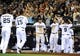 Jul 30, 2013; San Diego, CA, USA; San Diego Padres players celebrate after scoring two runs on a double by catcher Nick Hundley (not pictured) during the eighth inning against the Cincinnati Reds at Petco Park. Mandatory Credit: Christopher Hanewinckel-USA TODAY Sports