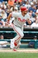 Jul 28, 2013; Detroit, MI, USA; Philadelphia Phillies left fielder Darin Ruf (18) runs towards first against the Detroit Tigers at Comerica Park. Mandatory Credit: Rick Osentoski-USA TODAY Sports